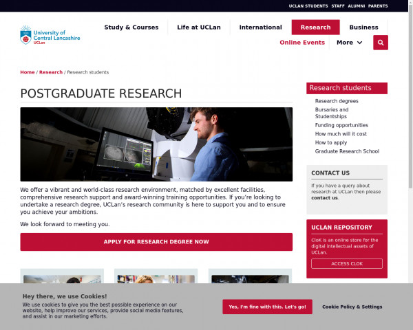 Screenshot of Prospective research students | Research | University of Central Lancashire