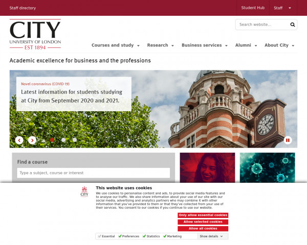 Screenshot of Welcome to City | City, University of London