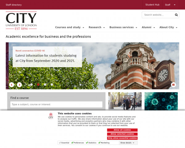 Desktop screenshot of City University of London website