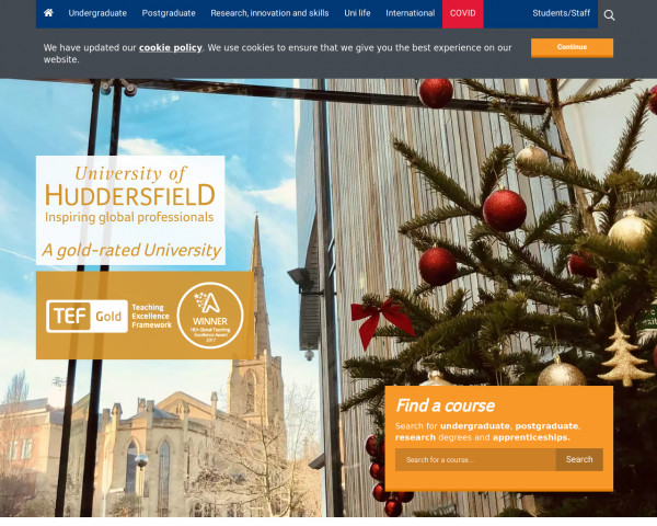 Desktop screenshot of University of Huddersfield website