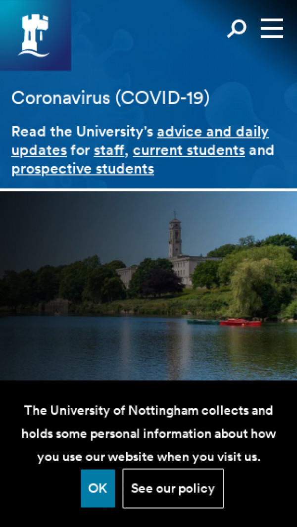 Mobile screenshot of University of Nottingham website