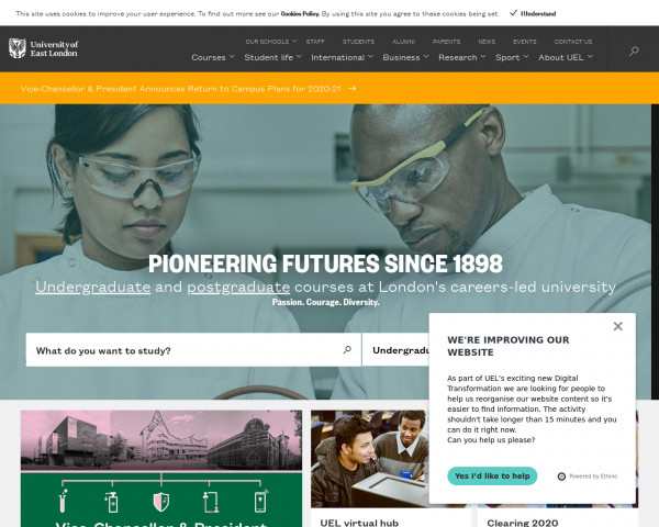 Desktop screenshot of University of East London website
