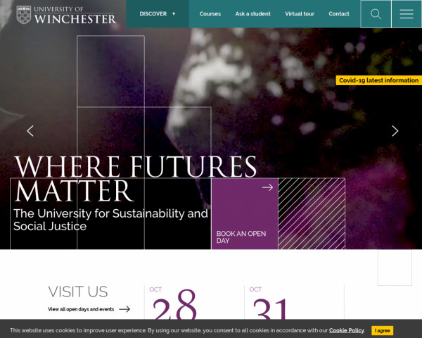 Screenshot of University of Winchester: The University for Sustainability and Social Justice