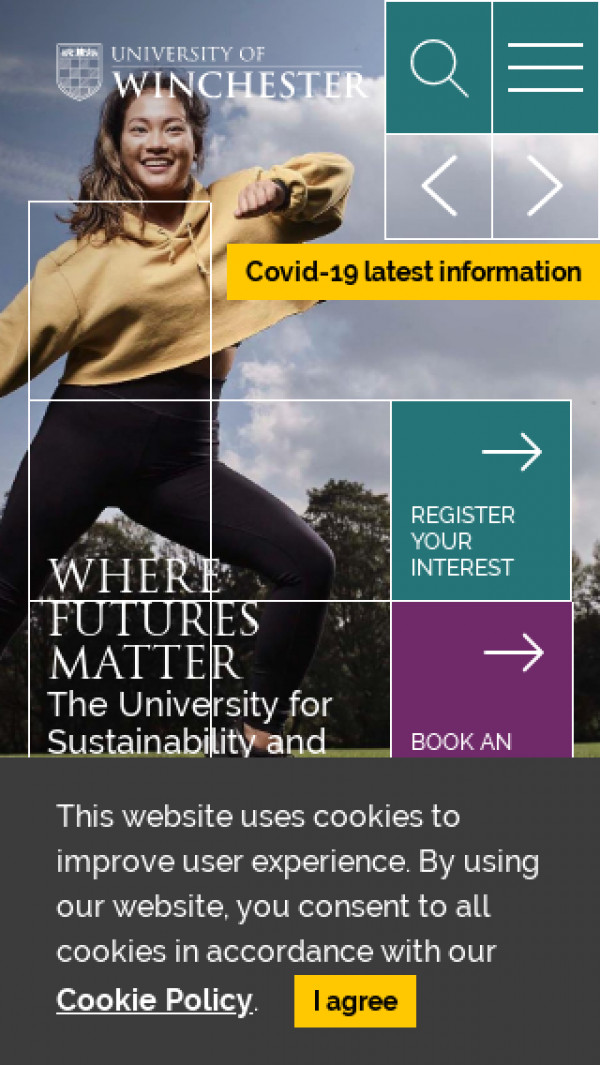 Mobile screenshot of University of Winchester website