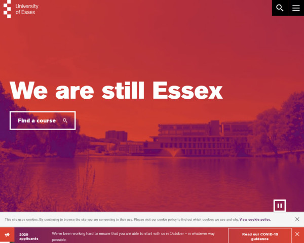 Desktop screenshot of University of Essex website