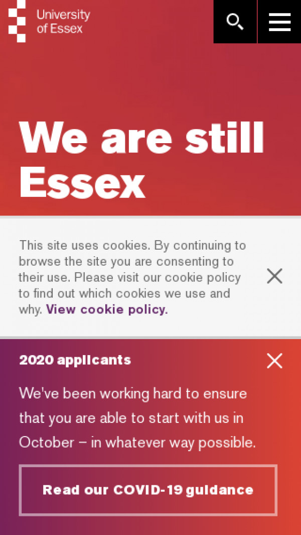 Mobile screenshot of University of Essex website