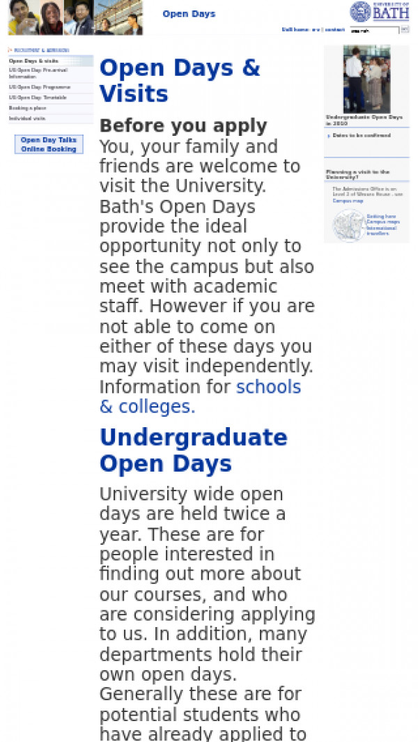 Screenshot of Open Days - Recruitment and Admissions - University of Bath