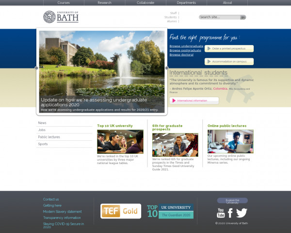 Desktop screenshot of University of Bath website