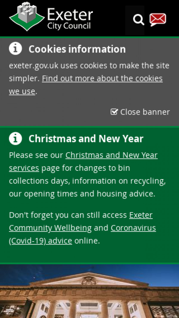 Mobile screenshot of Exeter City Council website