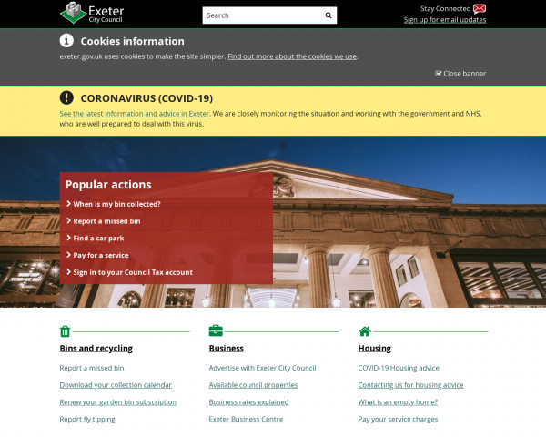 Desktop screenshot of Exeter City Council website