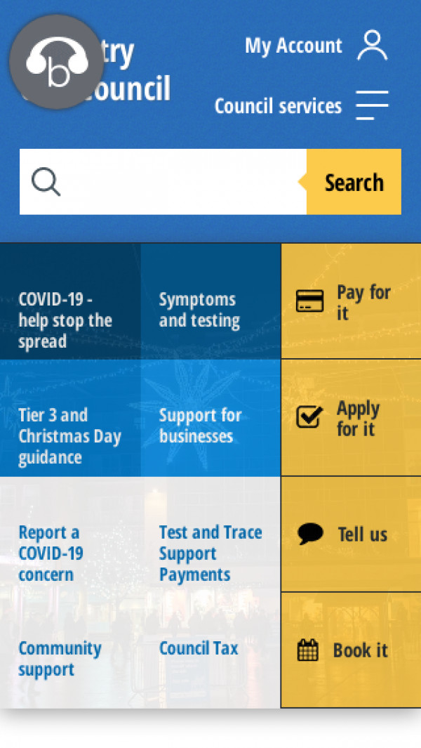 Mobile screenshot of Coventry City Council website