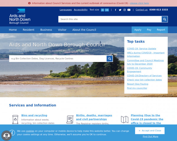 Screenshot of Ards and North Down Borough Council