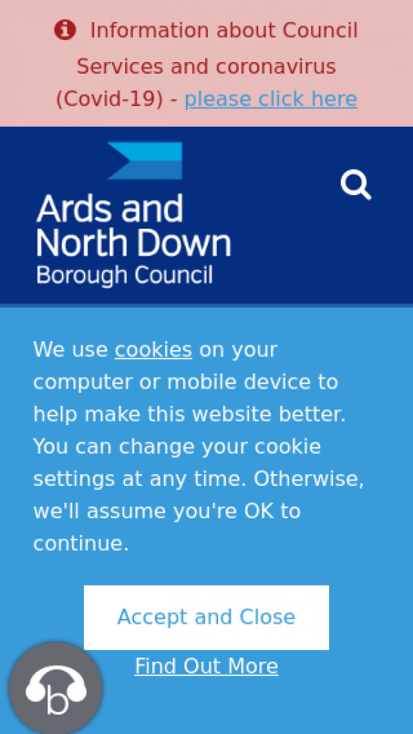 Mobile screenshot of Ards and North Down Borough Council website