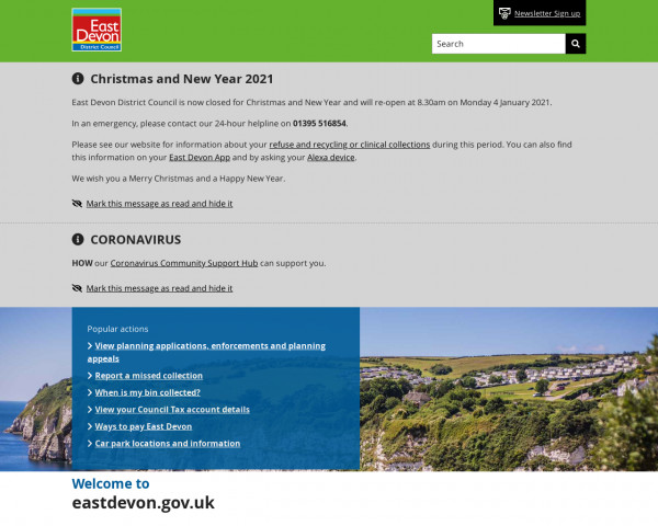 Desktop screenshot of East Devon District Council website