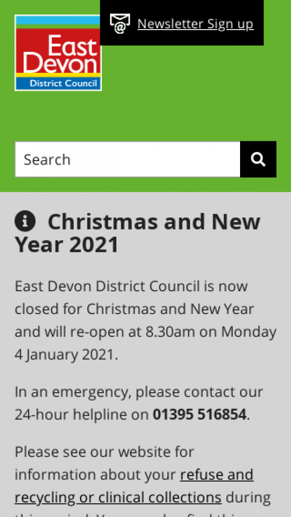Mobile screenshot of East Devon District Council website