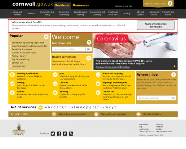 Desktop screenshot of Cornwall Council website