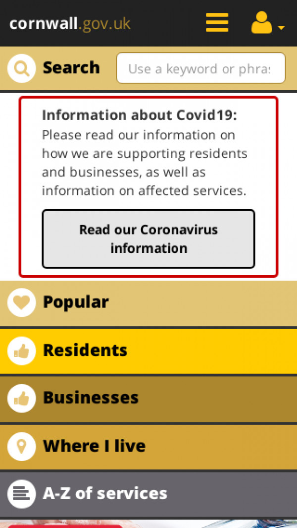 Mobile screenshot of Cornwall Council website