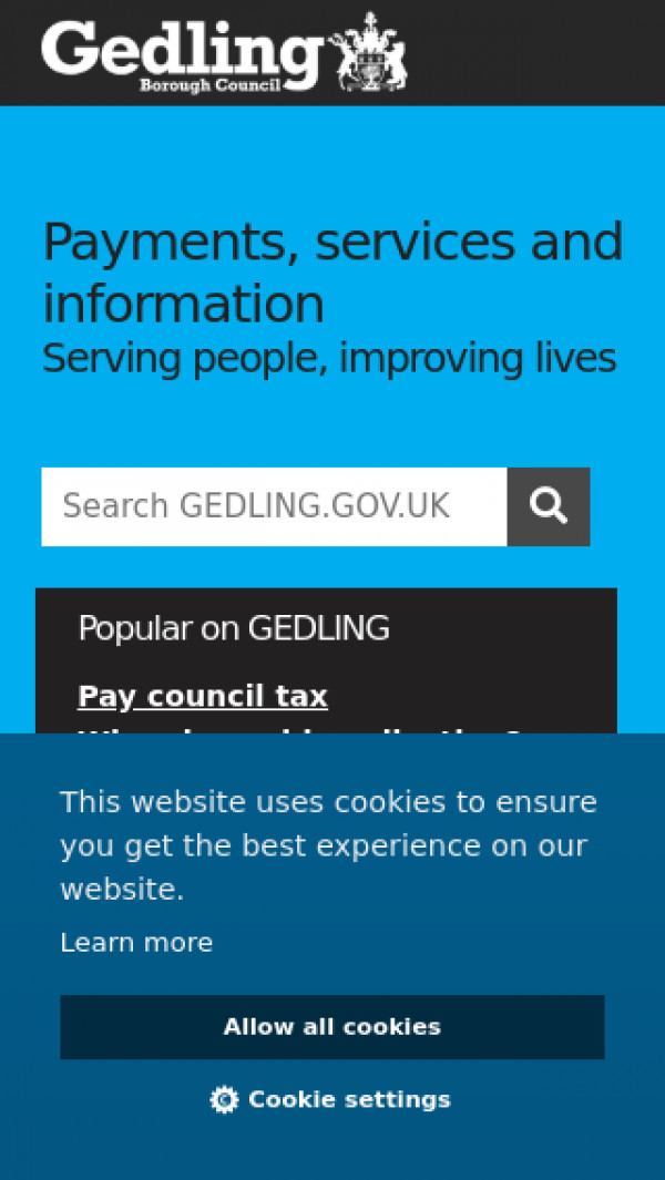 Mobile screenshot of Gedling Borough Council website