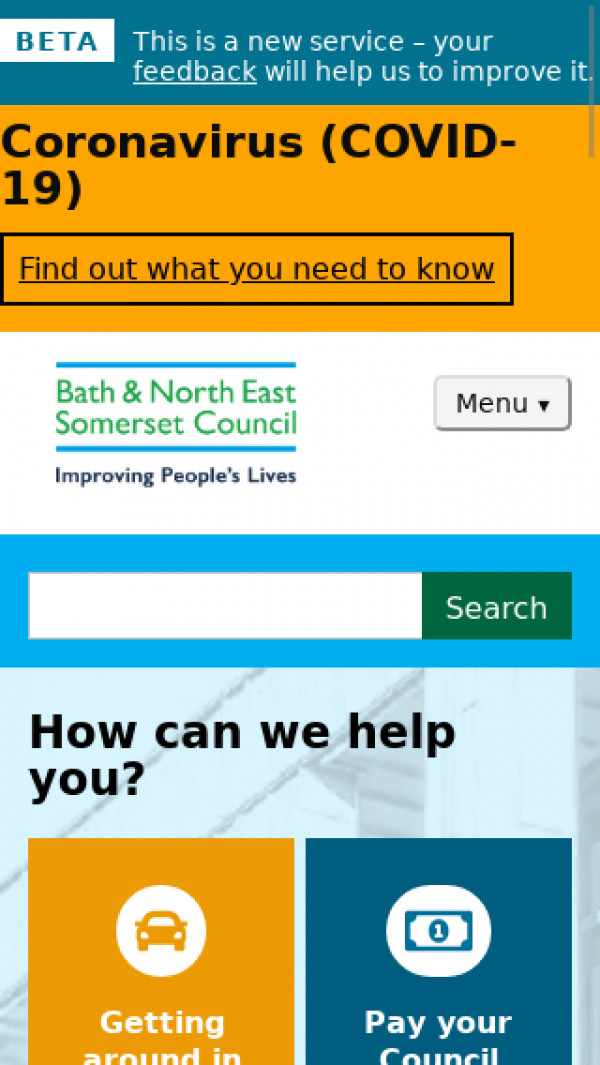 Mobile screenshot of Bath & North East Somerset Council website