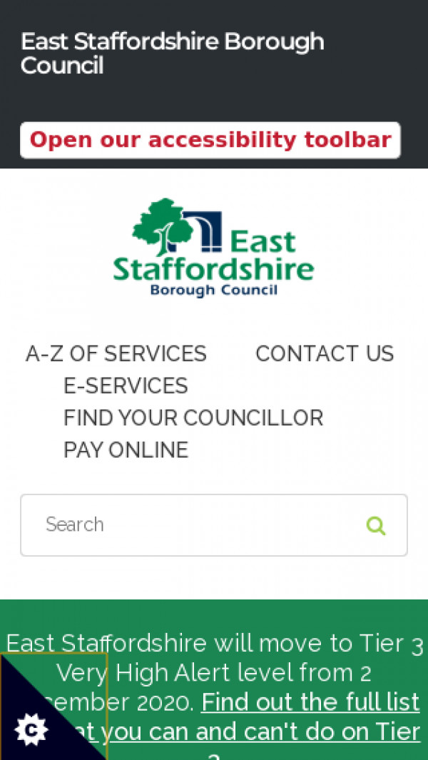 Mobile screenshot of East Staffordshire Borough Council website