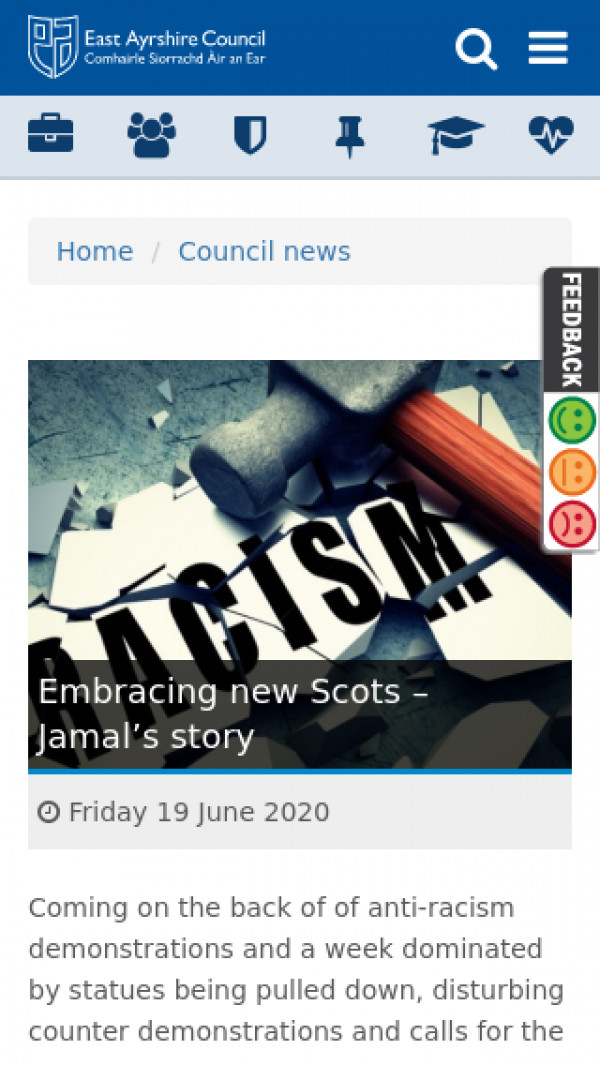 Mobile screenshot of East Ayrshire Council website
