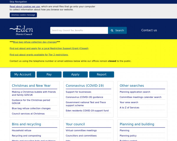 Desktop screenshot of Eden District Council website