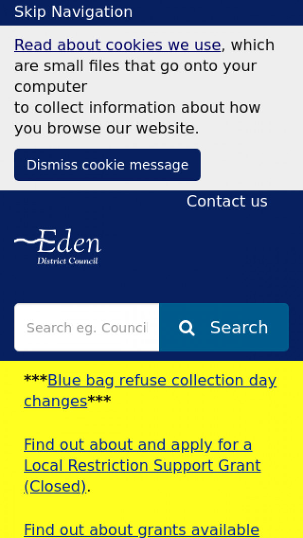 Mobile screenshot of Eden District Council website