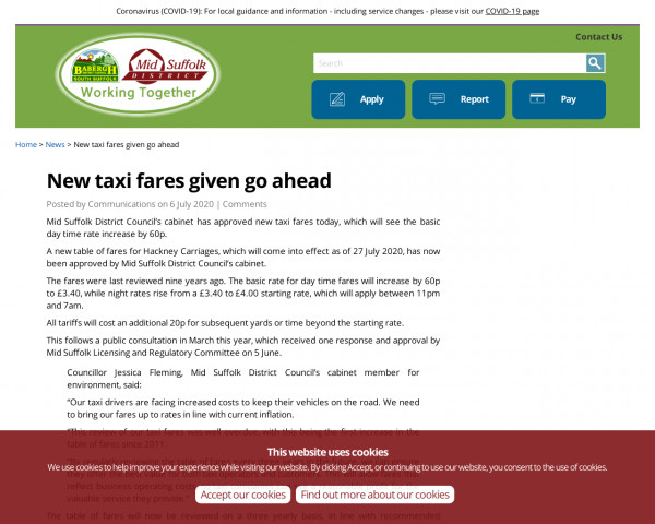 Screenshot of New taxi fares given go ahead » Babergh Mid Suffolk