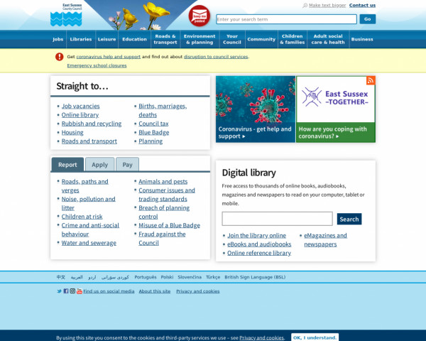 Desktop screenshot of East Sussex County Council website