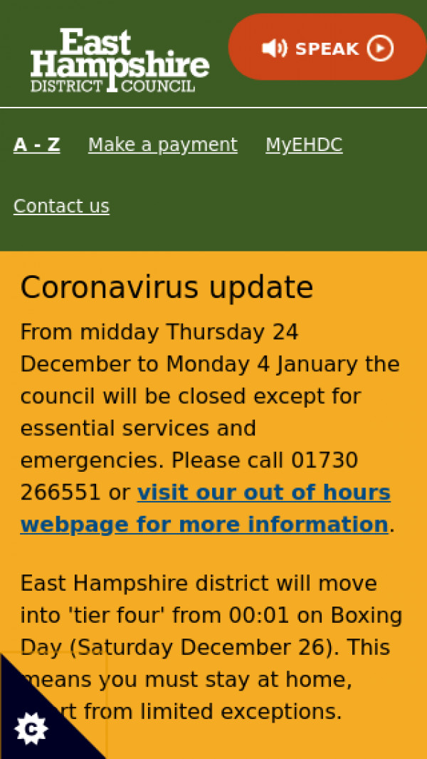 Mobile screenshot of East Hampshire District Council website