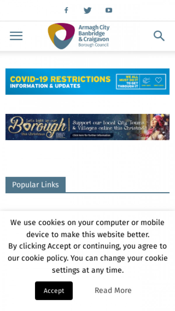 Mobile screenshot of Armagh Banbridge and Craigavon Borough Council website