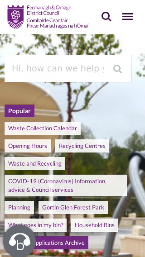 Mobile screenshot of Fermanagh & Omagh District Council website