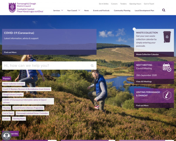 Desktop screenshot of Fermanagh & Omagh District Council website