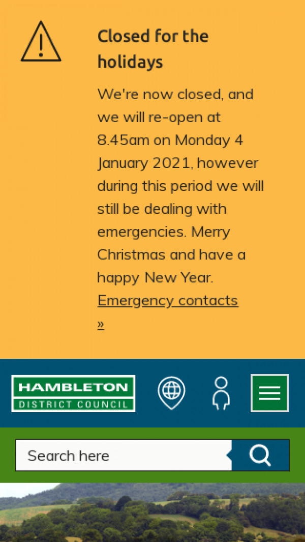 Mobile screenshot of Hambleton District Council website