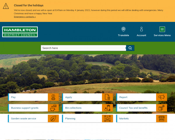 Desktop screenshot of Hambleton District Council website