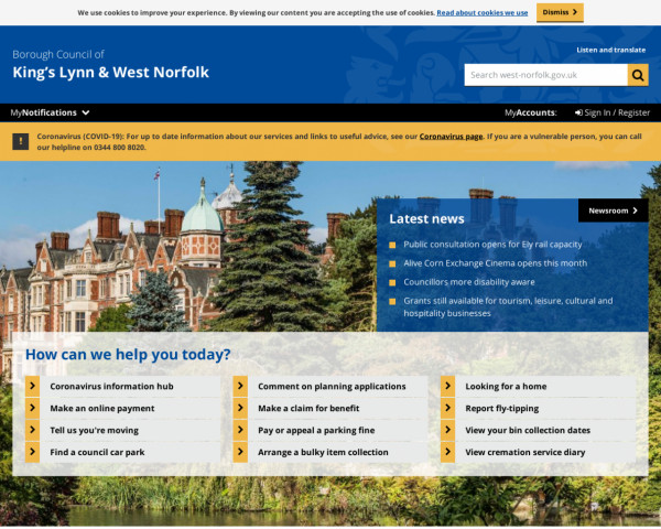 Desktop screenshot of King's Lynn & West Norfolk Borough Council website