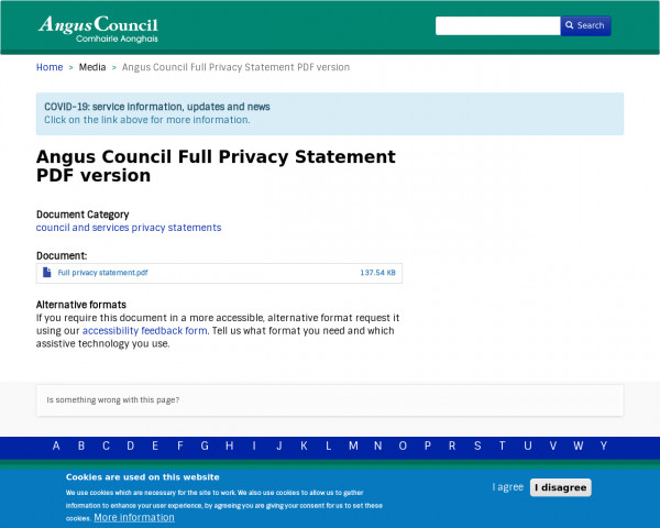 Screenshot of Angus Council Full Privacy Statement PDF version | Angus Council