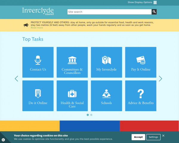 Desktop screenshot of Inverclyde Council website