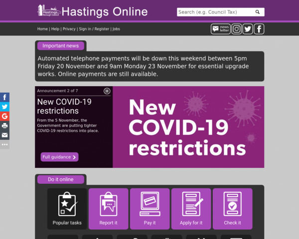 Screenshot of Hastings Borough Council homepage