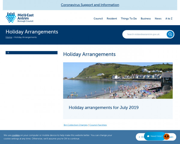Screenshot of Holiday Arrangements for Council facilities | Mid and East Antrim Borough Council
