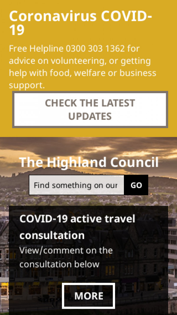 Mobile screenshot of Highland Council website