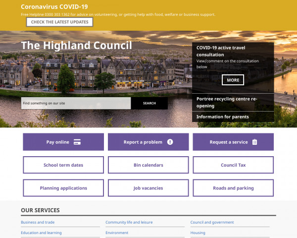 Desktop screenshot of Highland Council website