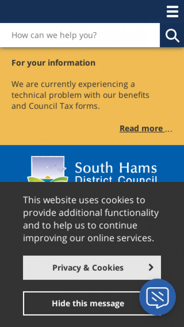 Mobile screenshot of South Hams District Council website
