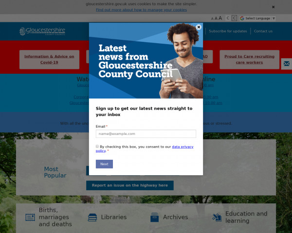 Screenshot of Gloucestershire County Council - Gloucestershire County Council