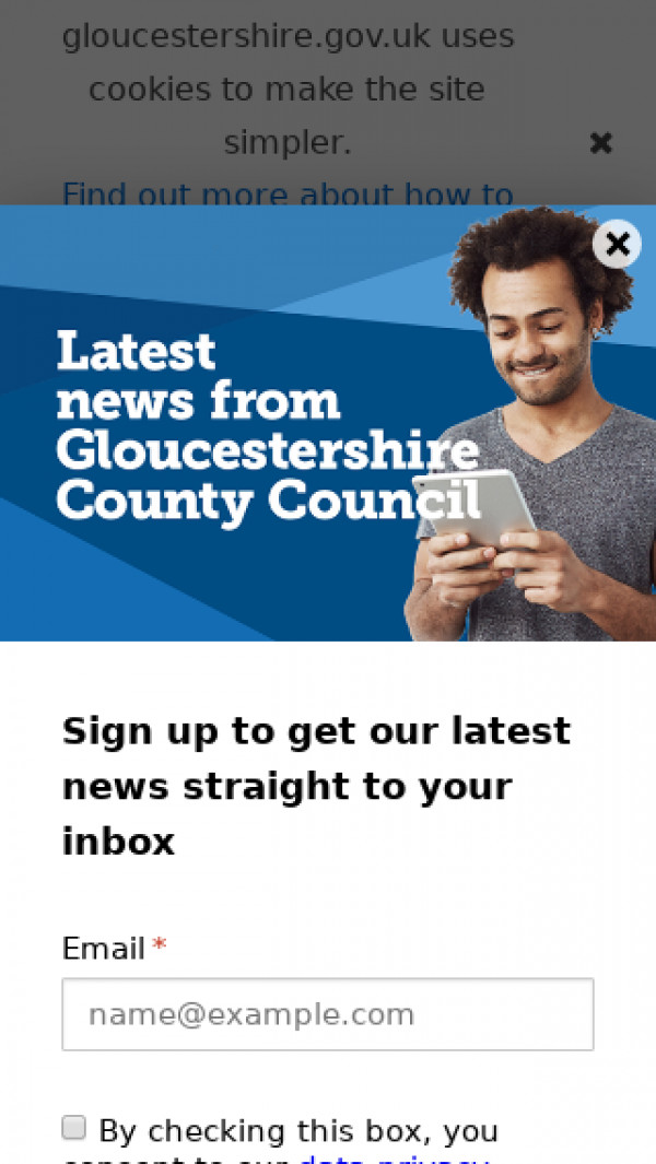 Mobile screenshot of Gloucestershire County Council website