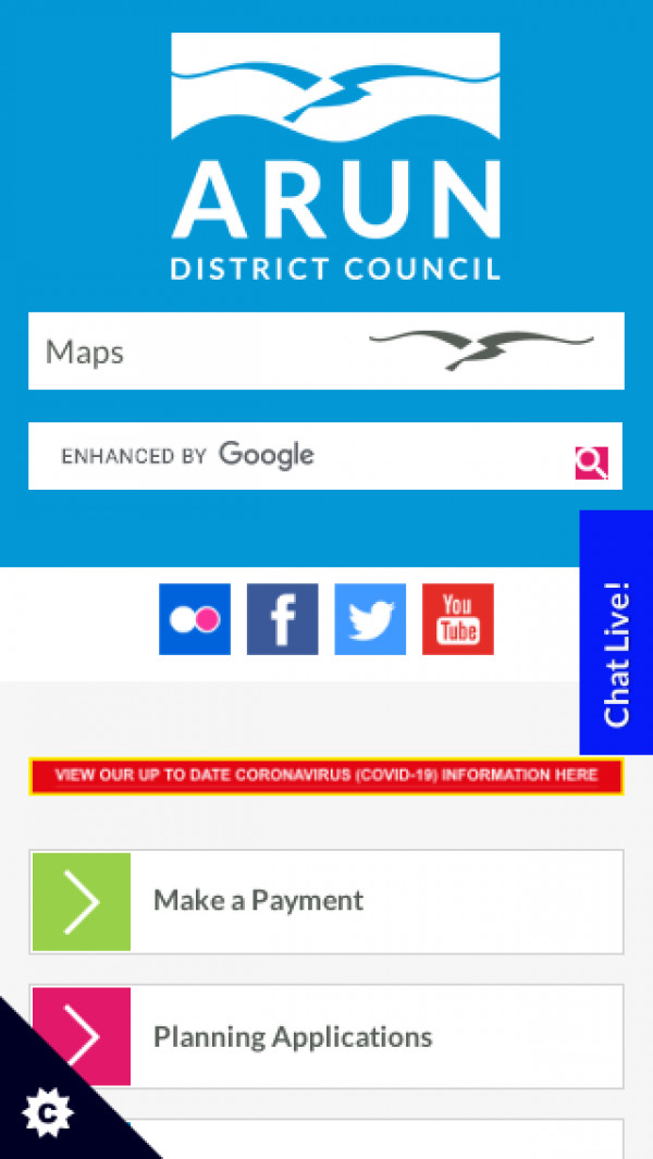 Mobile screenshot of Arun District Council website