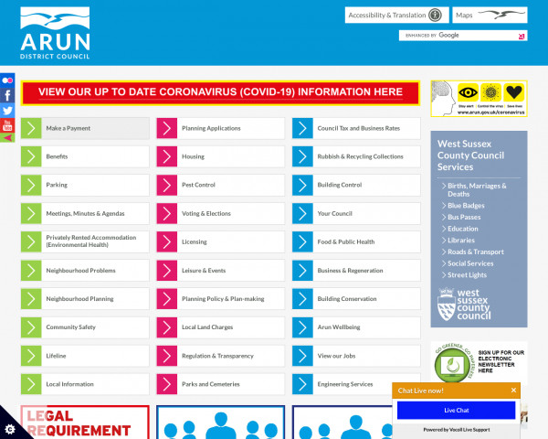 Desktop screenshot of Arun District Council website