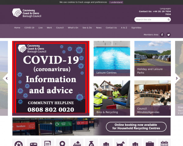 Desktop screenshot of Causeway Coast and Glens Borough Council website