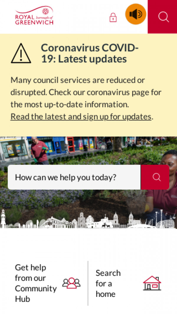Mobile screenshot of Royal Borough of Greenwich Council website
