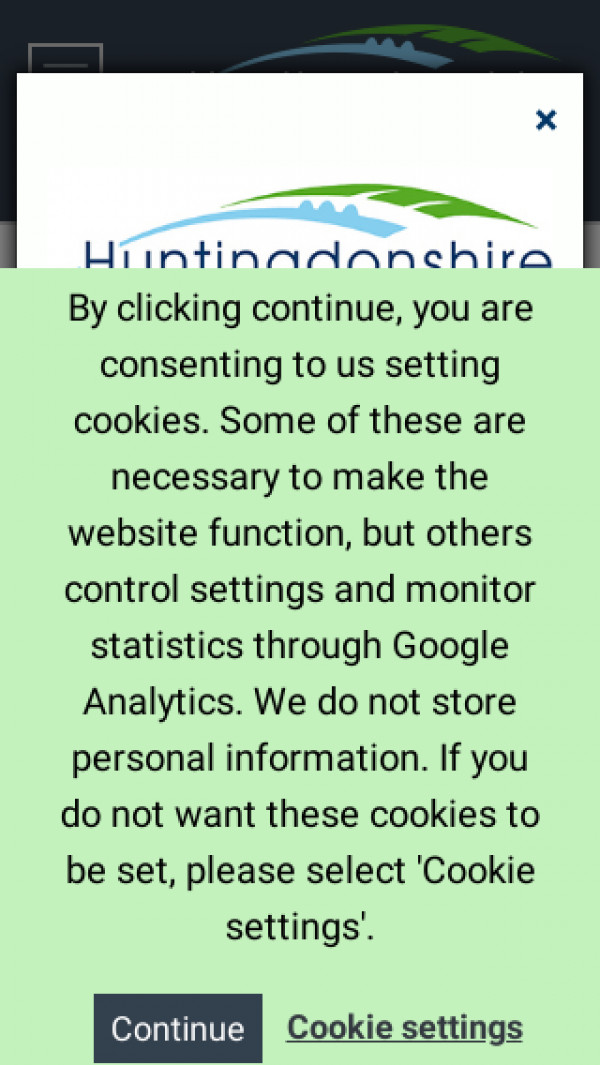 Mobile screenshot of Huntingdonshire District Council website